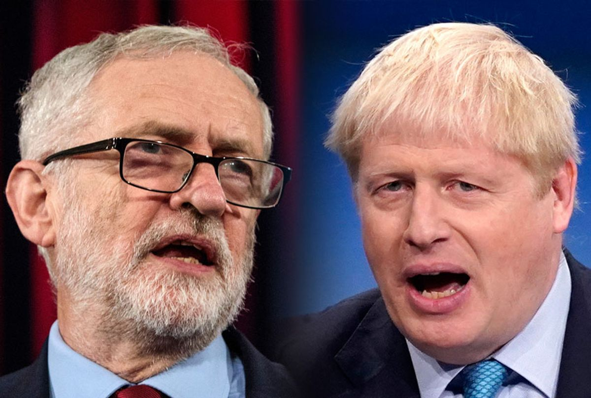 In this composite image a comparison has been made between Jeremy Corbyn, Labour Leader and Boris Johnson, Prime Minister and Conservative Leader. (Jack Taylor/Christopher Furlong/Getty Images)