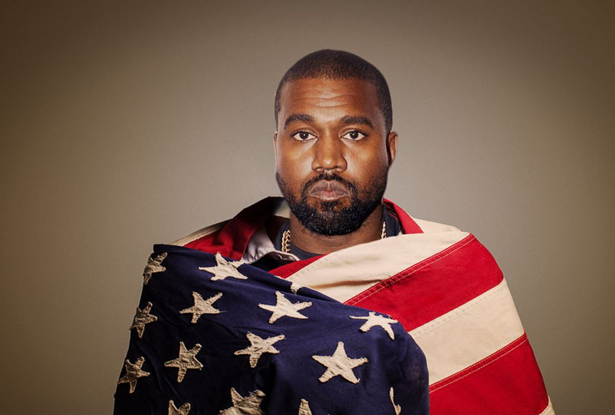 Kanye West wrapped in an American flag (Brad Barket/Getty Images/Fast Company/Salon)
