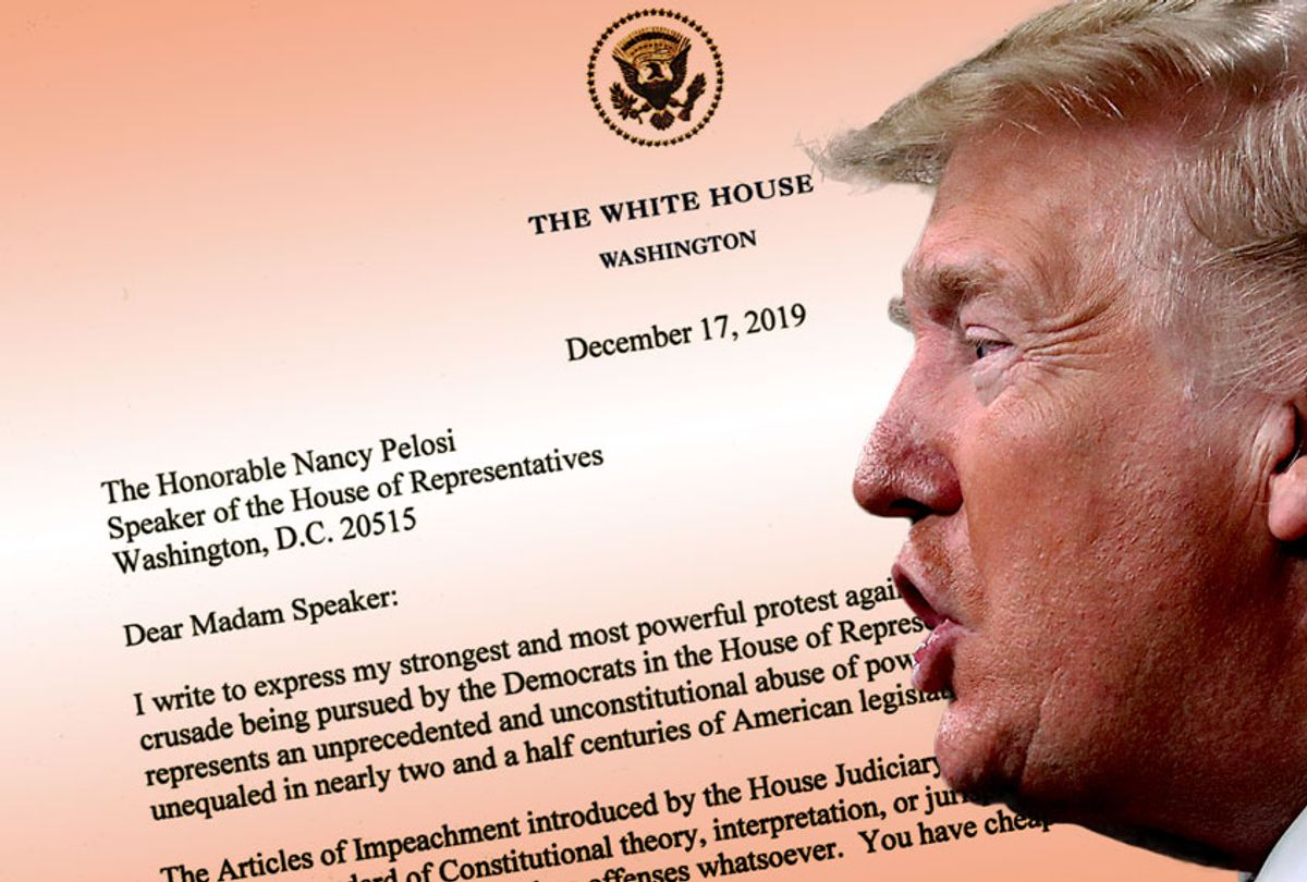 Donald Trump's letter to Nancy Pelosi (The White House/Getty Images/Salon)