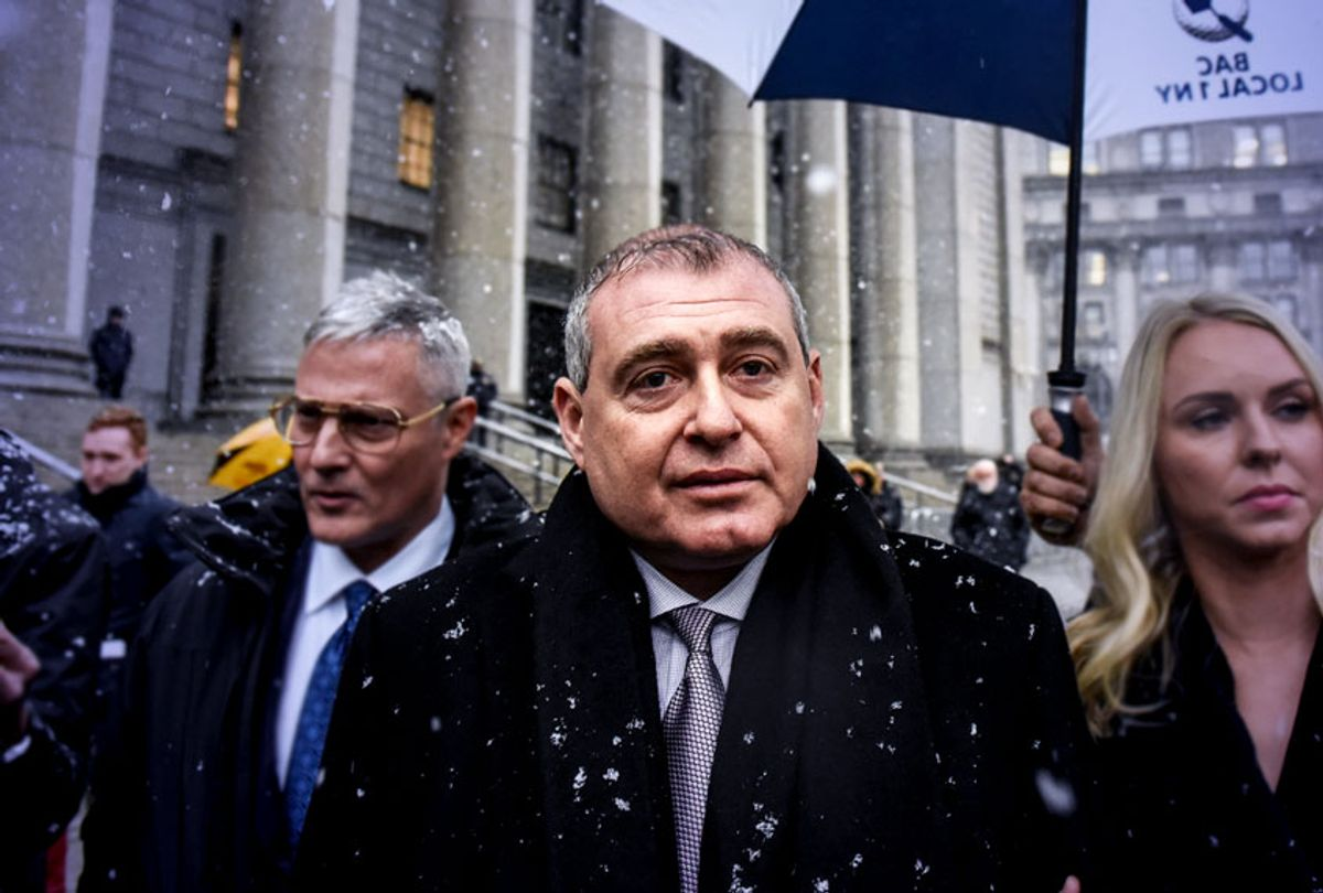 Lev Parnas departs federal court with his wife Svetlana Parnas on December 2, 2019 in New York City. Lev Parnas, an associate of President Trump's personal lawyer Rudy Giuliani, was arrested in October on charges of illegally funneling money to a pro-Trump election committee and other politicians. (Stephanie Keith/Getty Images)