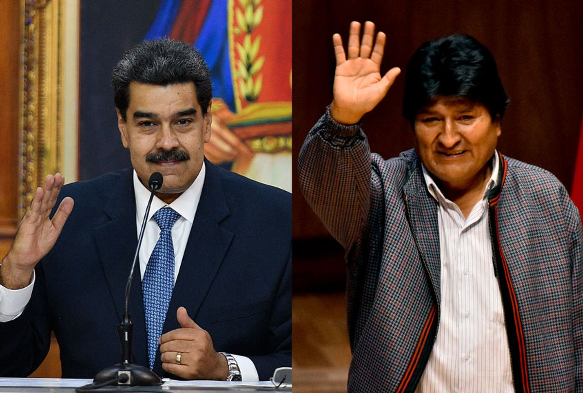 Venezuela's President Nicolas Maduro and he First President of the Plurinational State of Bolivia, Evo Morales (Getty Images/Salon)