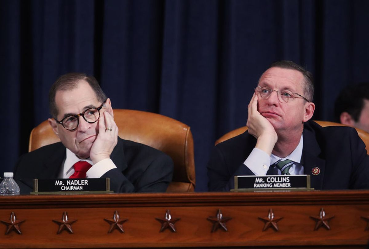 Chair Rep. Jerry Nadler (D-NY) and ranking member Rep. Doug Collins (R-GA) listen during testimony by Democratic and Republican counsels before the House Judiciary Committee in the Longworth House Office Building on Capitol Hill December 9, 2019 in Washington, DC. The hearing is being held for the Judiciary Committee to formally receive evidence in the impeachment inquiry of President Donald Trump, whom Democrats say held back military aid for Ukraine while demanding they investigate his political rivals. The White House declared it would not participate in the hearing.  (Jonathan Ernst-Pool/Getty Images)