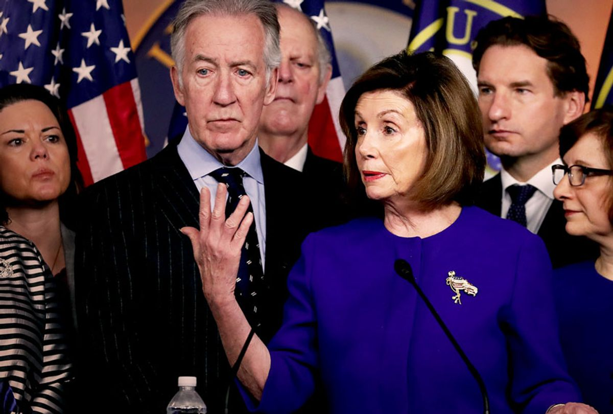 U.S. House Speaker Nancy Pelosi (D-CA) and Ways and Means Committee Chairman Richard E. Neal (D-MA) (L), speak during a news conference on the USMCA trade agreement, on Capitol Hill December 10, 2019 in Washington, DC. Pelosi said an agreement has been reached on a deal over the U.S.-Mexico-Canada, but final details for the trade pact were still being ironed out. (Mark Wilson/Getty Images)