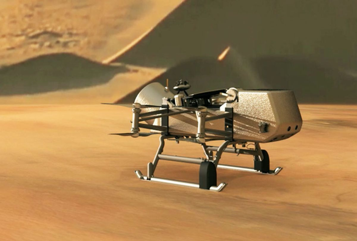 This illustration shows NASA's Dragonfly rotorcraft-lander approaching a site on Saturn's exotic moon, Titan. Taking advantage of Titan's dense atmosphere and low gravity, Dragonfly will explore dozens of locations across the icy world, sampling and measuring the compositions of Titan's organic surface materials to characterize the habitability of Titan's environment and investigate the progression of prebiotic chemistry. (NASA/JHU-APL)
