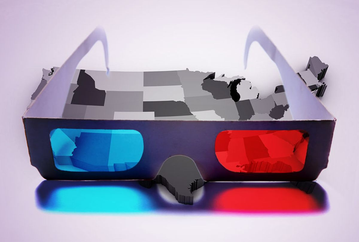 Seeing a blue and red divide across the US (Getty Images/Salon)