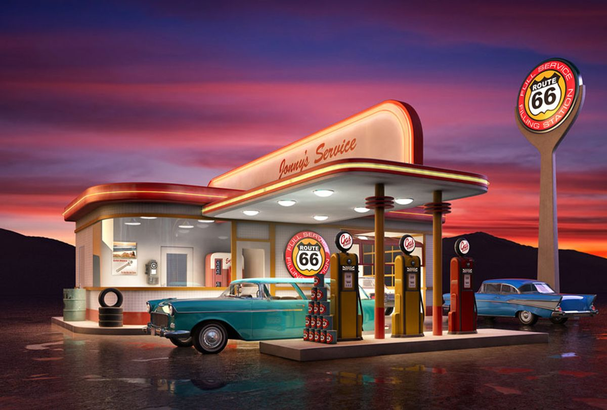 Retro American gas station at dusk (Getty Images)