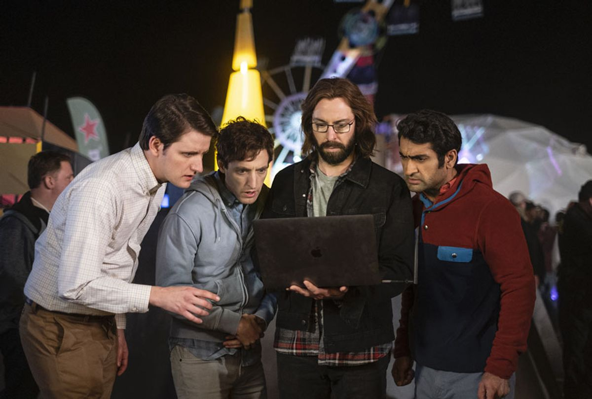 """Zach Woods, Thomas Middleditch, Martin Starr and Kumail Nanjiani in """"Silicon Valley"""" (Eddy Chen/HBO)"""