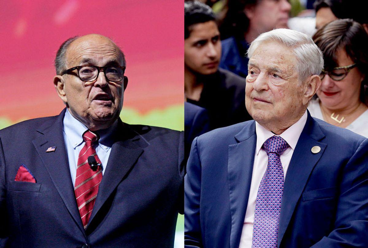 Trump Attorney Rudy Giuliani and George Soros (Saul Martinez/Getty Images/ Popow/ullstein bild/Salon)