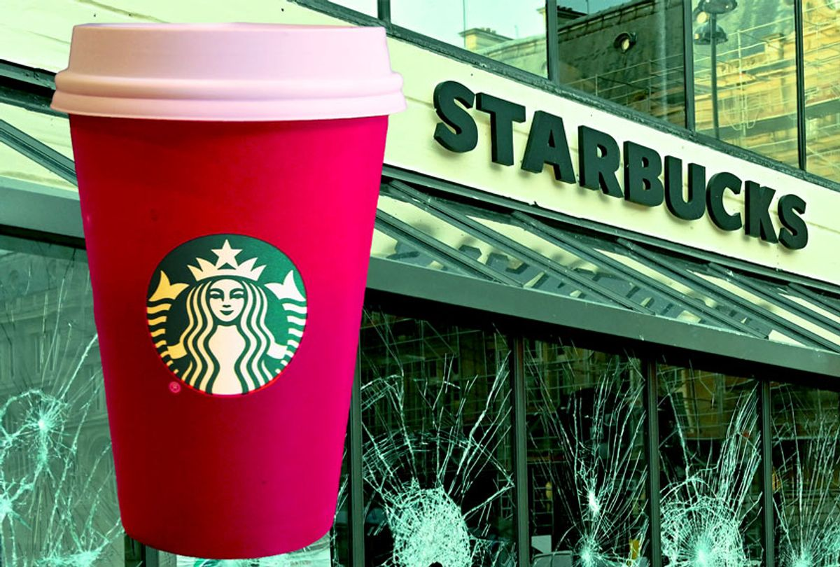 Starbucks red holiday cup, and a vandalized Starbucks cafe. (Mustafa Yalcin/Anadolu Agency/Getty Images/Salon)