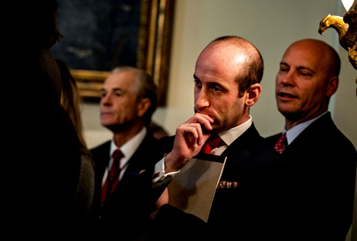 Senior Advisor for Policy Stephen Miller, center, listens as President Donald J. Trump speaks during a cabinet meeting (Salwan Georges/The Washington Post via Getty Images)
