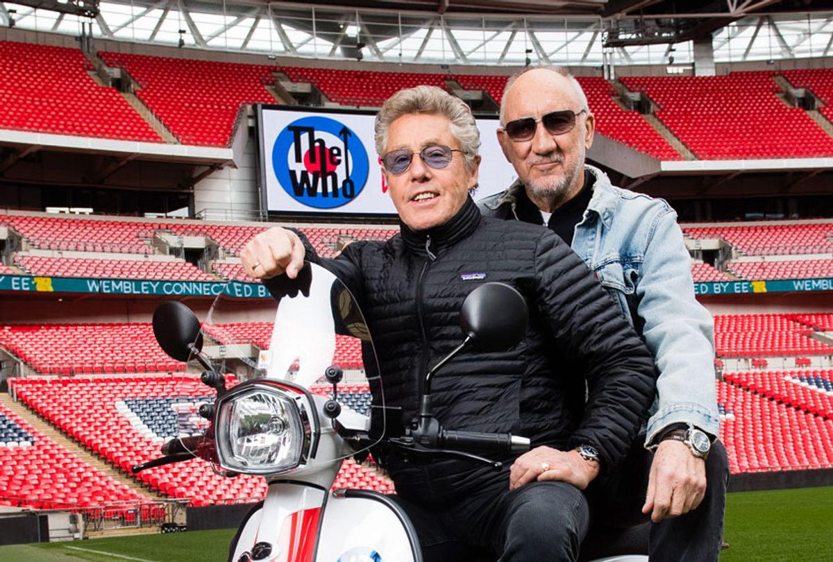 Pete Townshend and Roger Daltrey of The Who pose at Wembley Stadium to promote their summer concert at Wembley Stadium on March 13, 2019 in London, England.  (Samir Hussein/Samir Hussein/WireImage)