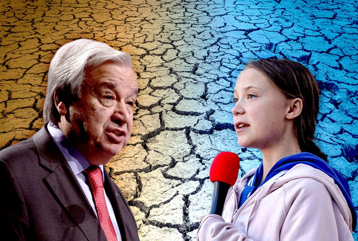 Antonio Guterres and Greta Thunberg (Getty Images/Europa Press News/Europa Press/Marc Piscotty/Salon)