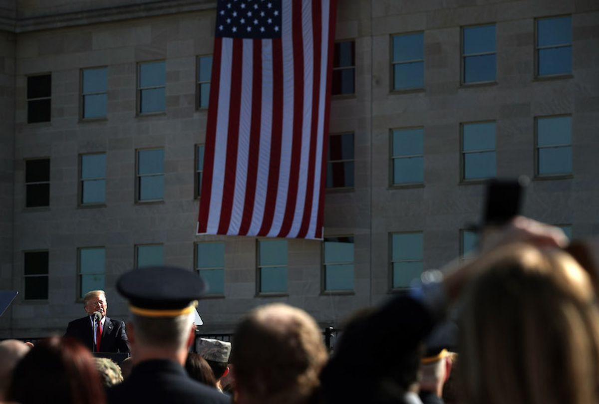 U.S. President Donald Trump speaks during an observance to commemorate the anniversary of the 9/11 terror attacks at the Pentagon Memorial September 11, 2017 in Arlington, Virginia. (Alex Wong/Getty Images)
