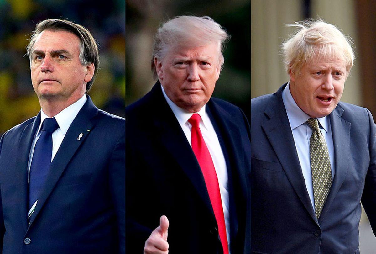 Donald Trump, Jair Bolsonaro and Boris Johnson (Getty Images/Victoria Jones - WPA Pool/Chris Brunskill/Fantasista/Mark Wilson/Salon)