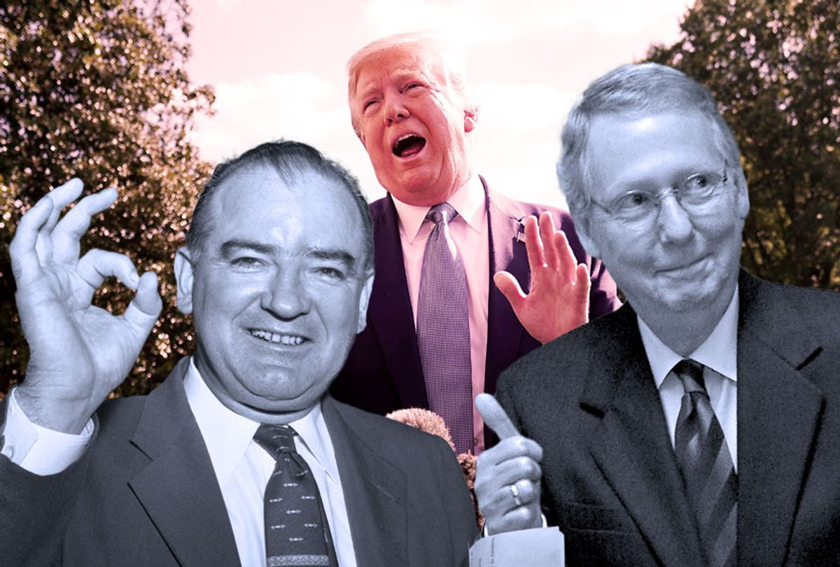 """Donald Trump getting the """"O-K"""" from Joseph McCarthy and Mitch McConnell (Getty Images/NICHOLAS KAMM/AFP/Bettman/Chip Somodevilla)"""