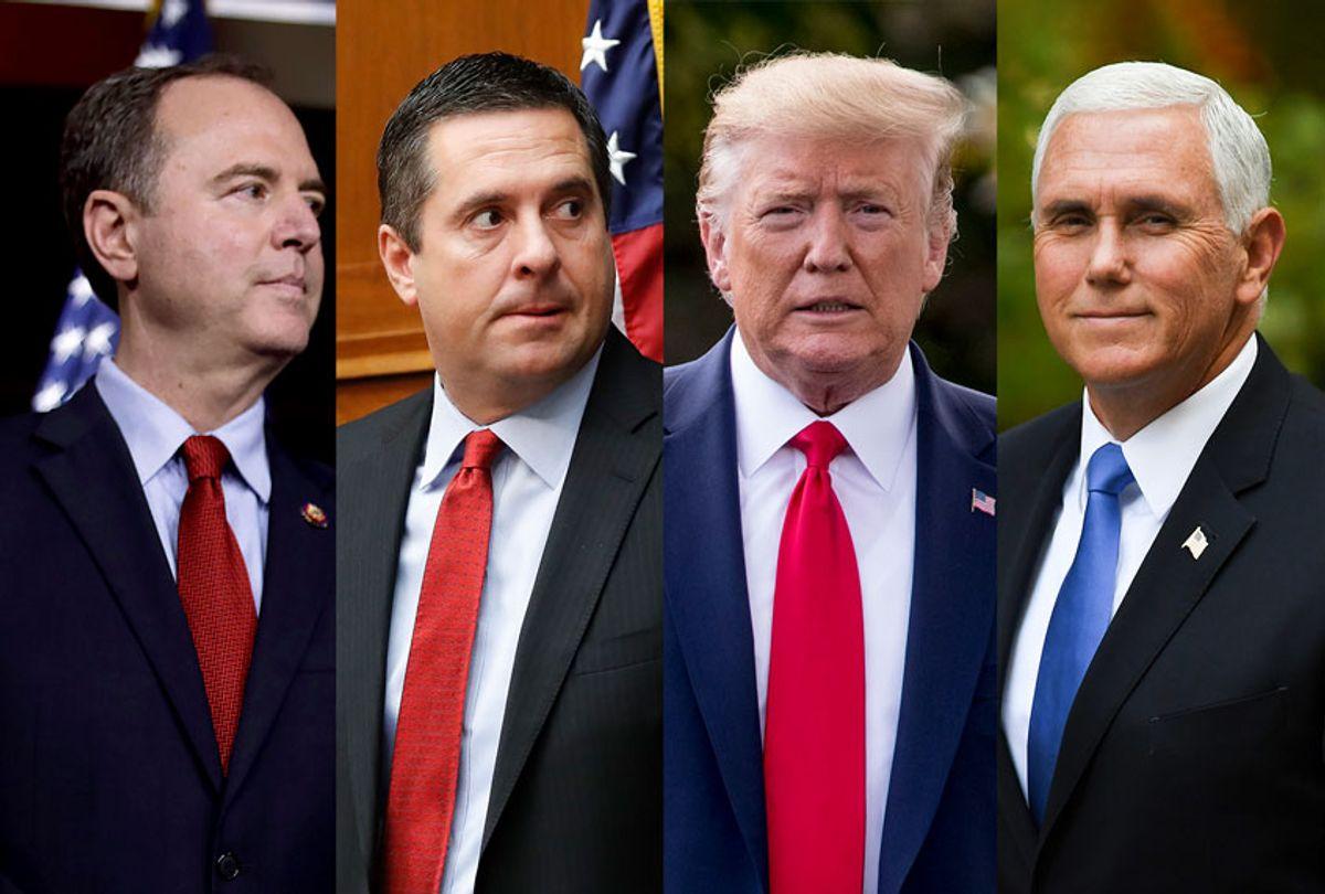 Adam Schiff, Devin Nunes, Donald Trump and Mike Pence (Getty Images/AP Photo/Salon)