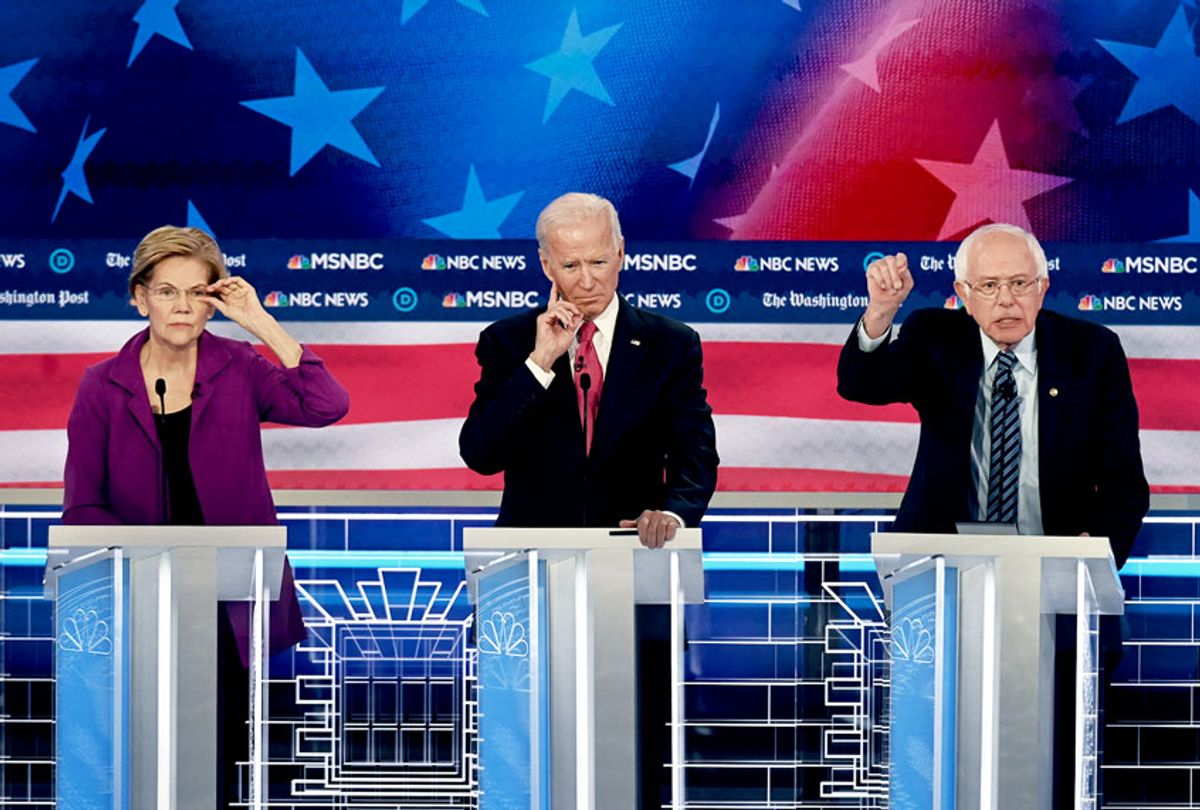 Presidential candidate Sen. Elizabeth Warren (D-Mass.), Former vice president Joe Biden and Sen. Bernie Sanders (I-Vt.) during the Washington Post and MSNBC fifth Democratic presidential primary debate at the from Tyler Perry Studios on November 20, 2019 in Atlanta, Georgia.  (Toni L. Sandys/The Washington Post via Getty Images)
