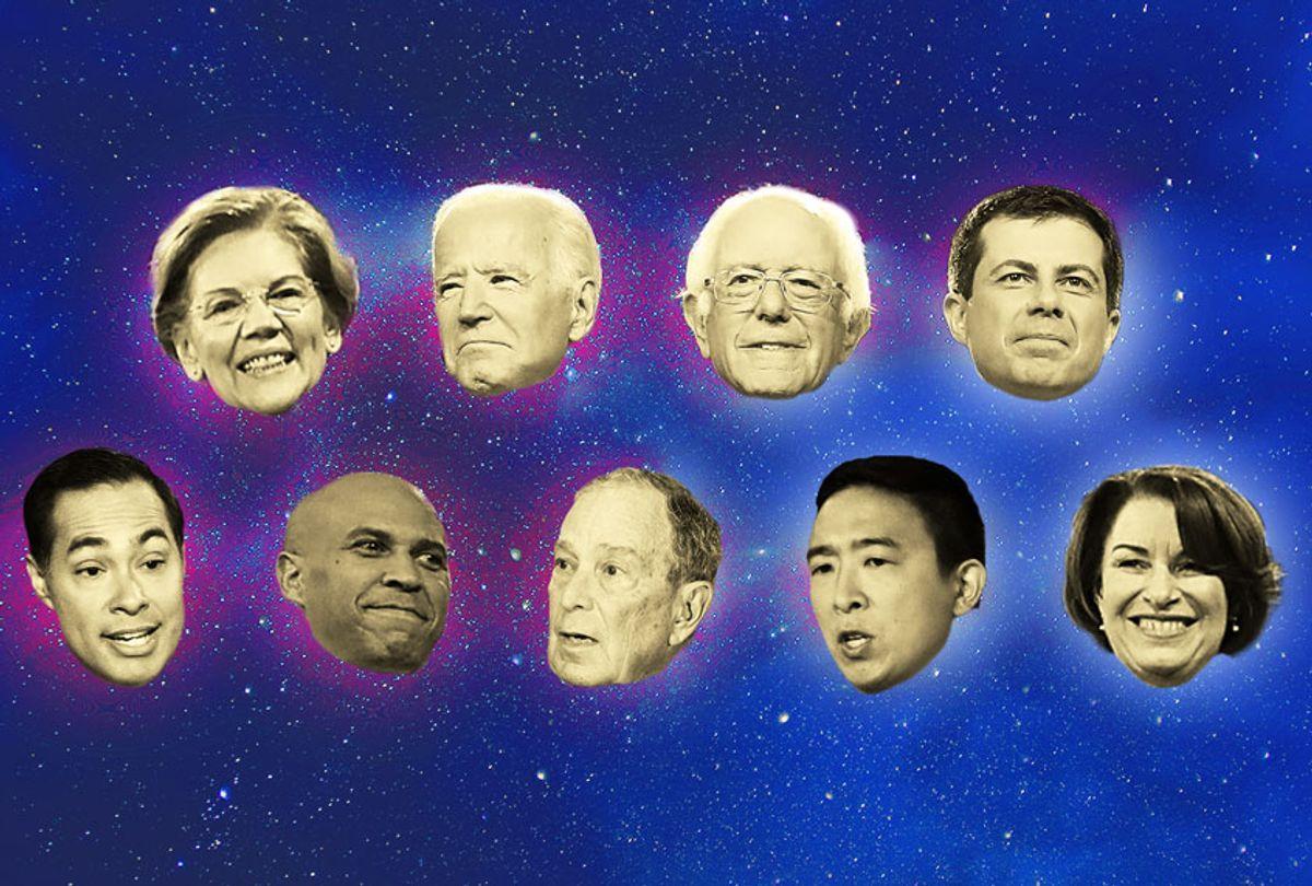 Elizabeth Warren, Joe Biden, Bernie Sanders, Pete Buttigieg, Julian Castro, Cory Booker, Michael Bloomberg, Andrew Yang, and Amy Klobuchar (Getty Images/Salon)