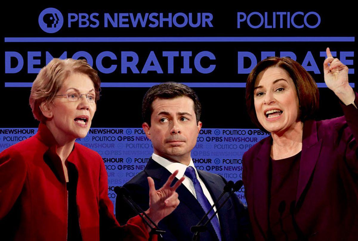 Elizabeth Warren, Pete Buttigieg, and Amy Klobuchar at the December 19th, 2019, Democratic Debate (Getty Images/Robyn Beck/Frederic J. Brown/AFP/Justin Sullivan/Salon)