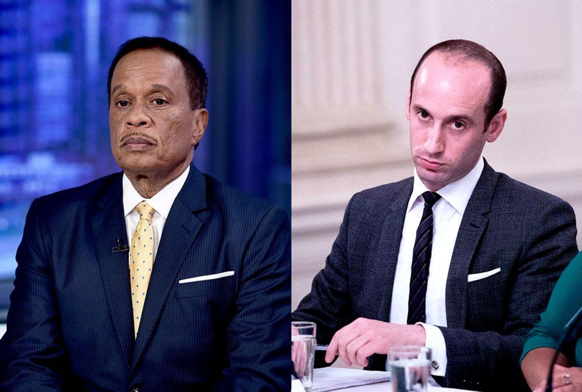 FOX News Contributor Juan Williams and Stephen Miller, US President Donald Trump's senior advisor for policy (NICHOLAS KAMM/AFP/Steven Ferdman/Getty Images)