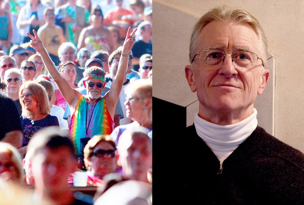 """Diptych of a fan flashing the peace sign during the concert marking the 40th anniversary of the Woodstock music festival, and Curtis white author of """"Living in a World That Can't Be Fixed"""" (Author photo provided by publicist/Mario Tama/Getty Images/Salon)"""