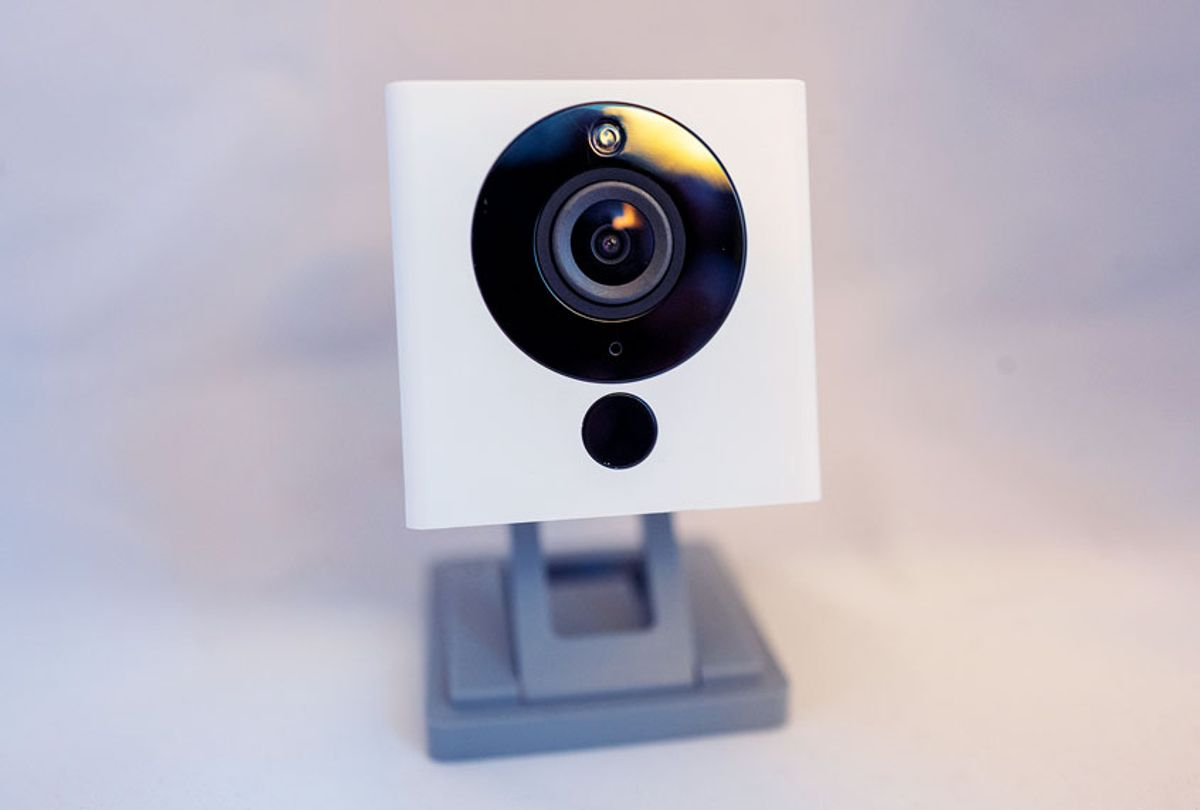 Close-up of low-cost, web-connected personal surveillance camera from smart home company Wyze isolated on white background, August 21, 2019. (Smith Collection/Gado/Getty Images)