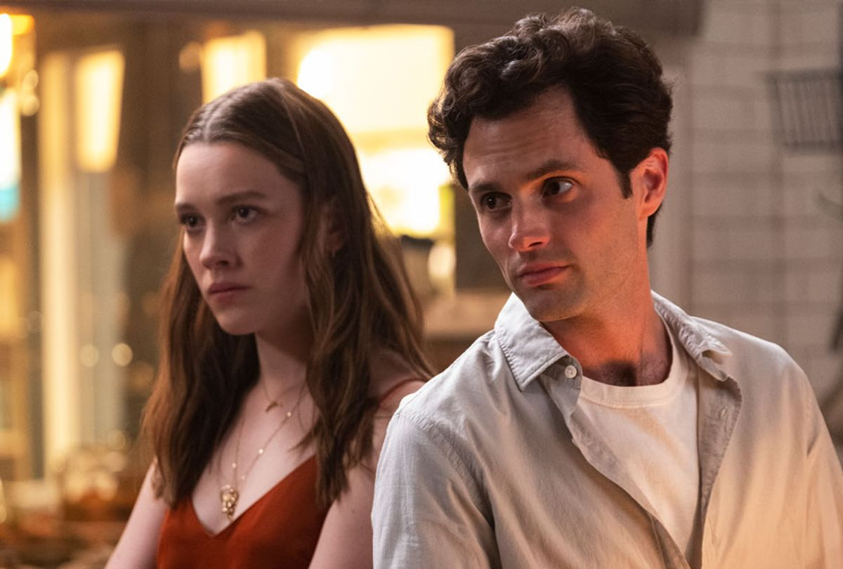 """Victoria Pedretti and Penn Badgley in """"You"""" (Beth Dubber/Netflix)"""