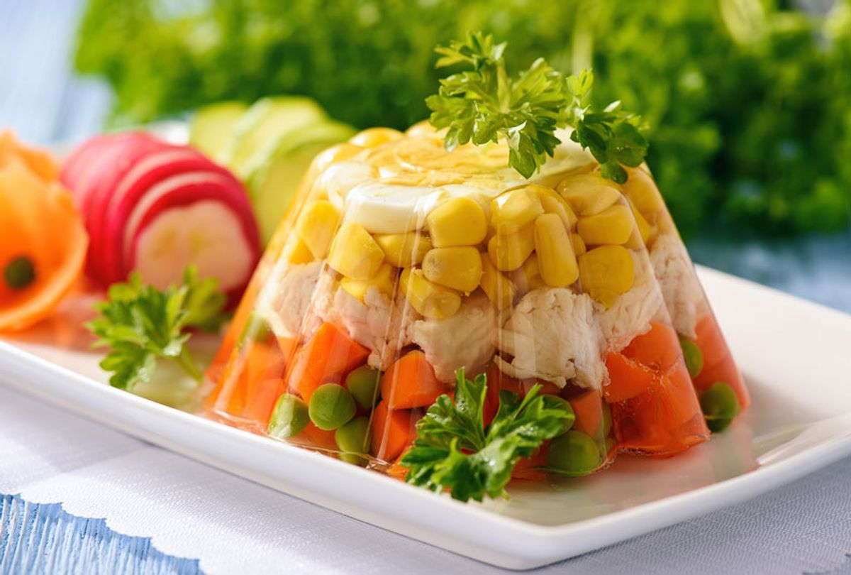 Aspic- jellied chicken with egg and vegetables (Getty Images)