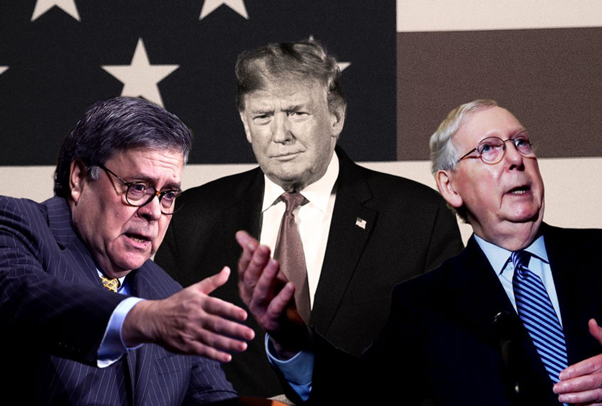 Bill Barr, Mitch McConnell, and Donald Trump (Getty Images/Salon)