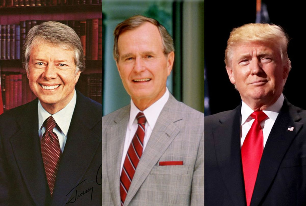 Jimmy Carter, George H. W. Bush, and Donald Trump (Getty Images/Salon)