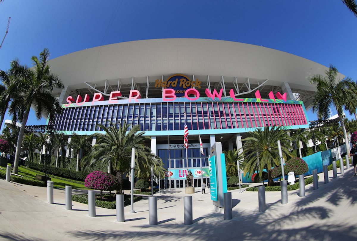 A general view of the outside of Hard Rock Stadium during Super Bowl week on January 28, 2020 in Miami Gardens, FL. (Rich Graessle/PPI/Icon Sportswire via Getty Images)