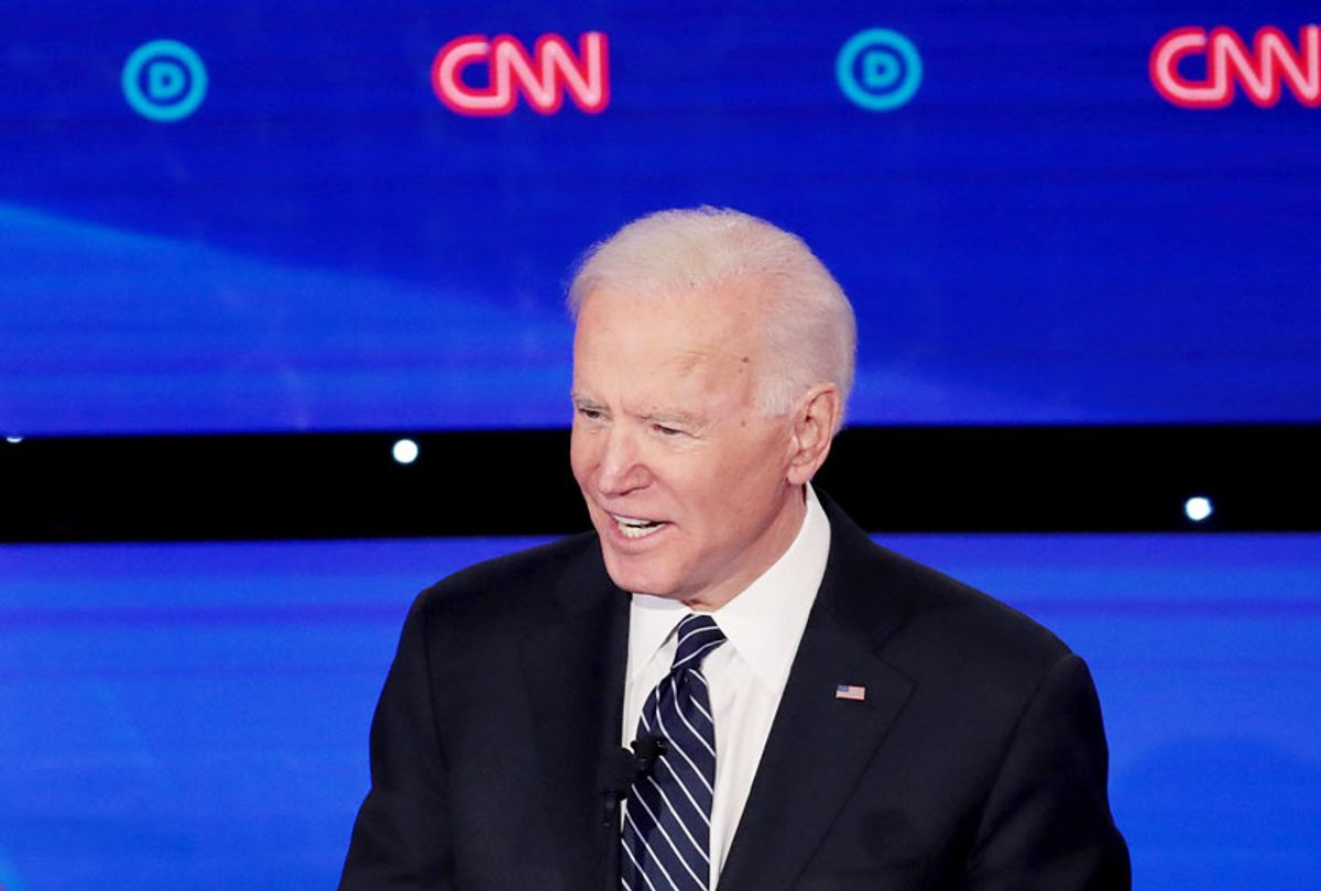 Vice President Joe Biden speaks during the Democratic presidential primary debate at Drake University on January 14, 2020 in Des Moines, Iowa.  Six candidates out of the field qualified for the first Democratic presidential primary debate of 2020, hosted by CNN and the Des Moines Register. (Scott Olson/Getty Images)