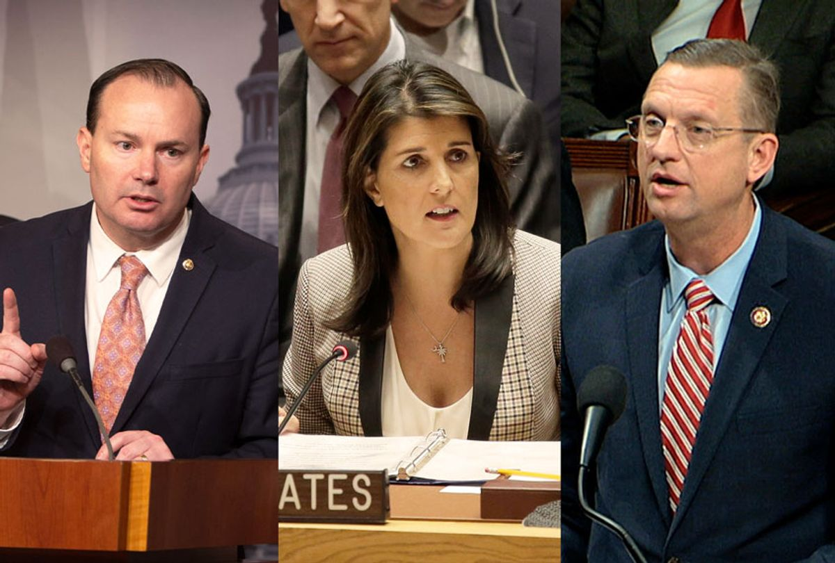 Mike Lee, Nikki Haley, and Doug Collins (Getty Images/AP Photo/Salon)
