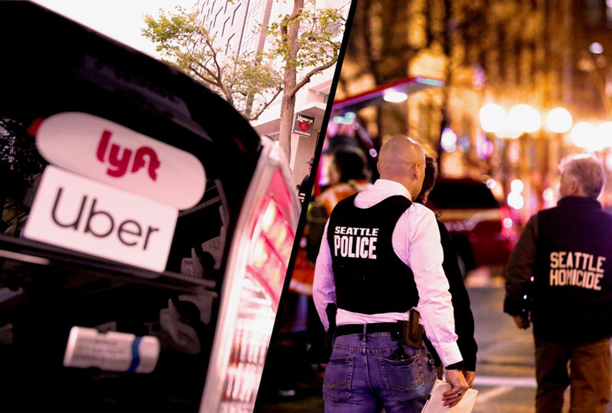 Lyft Uber car / Police look over the scene of a shooting at 3rd Avenue and Pine Streeton January 22, 2020 in the central business district of Seattle, Washington. (Getty Images/Salon)