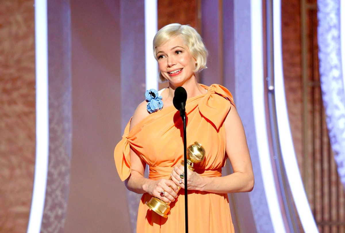 """Michelle Williams accepts the award for BEST PERFORMANCE BY AN ACTRESS IN A LIMITED SERIES OR A MOTION PICTURE MADE FOR TELEVISION for """"Fosse/Verdon"""" onstage during the 77th Annual Golden Globe Awards at The Beverly Hilton Hotel on January 5, 2020 in Beverly Hills, California.  (Paul Drinkwater/NBCUniversal Media, LLC via Getty Images)"""