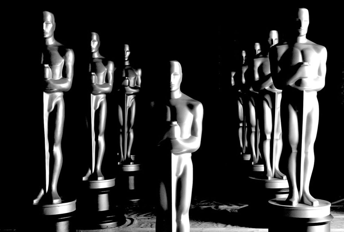 Freshly painted Oscar Statues in preparation for the Governors Awards and the Academy Awards in Northern Los Angeles County, California. (Kristian Dowling/Getty Images)
