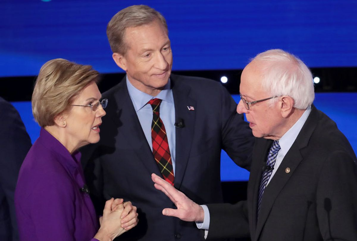 Sen. Elizabeth Warren (D-MA) and Sen. Bernie Sanders (I-VT) speak as Tom Steyer looks on after the Democratic presidential primary debate at Drake University on January 14, 2020 in Des Moines, Iowa. Six candidates out of the field qualified for the first Democratic presidential primary debate of 2020, hosted by CNN and the Des Moines Register.  (Scott Olson/Getty Images)
