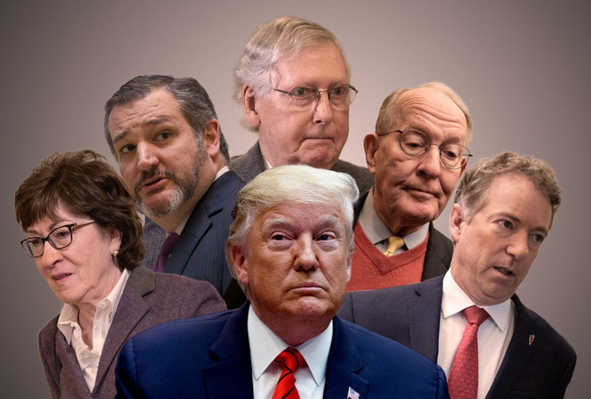 Donald Trump, Susan Collins, Lamar Alexander, Rand Paul, Ted Cruz, and Mitch McConnell (AP Photo/Getty Images/Salon)