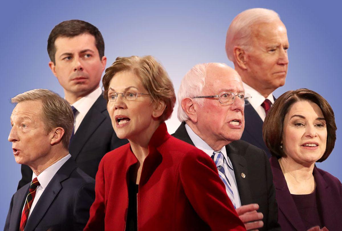 Pete Buttigieg, Tom Steyer, Elizabeth Warren, Bernie Sanders, Joe Biden, and Amy Klobuchar (Getty Images/Salon)