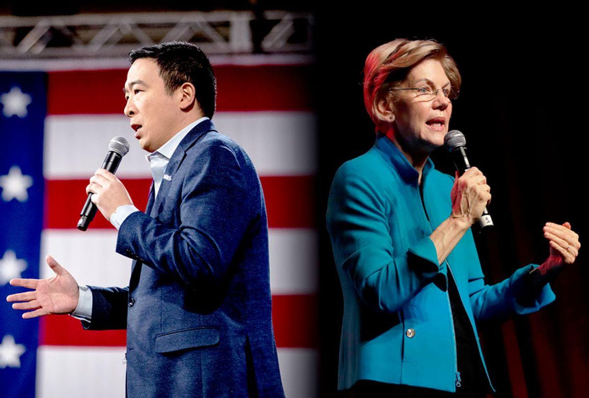 Andrew Yang and Elizabeth Warren (AP Photo/Salon)