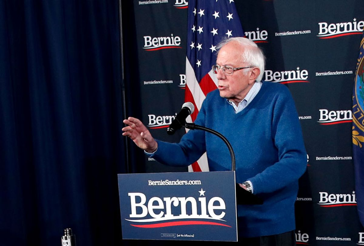 Democratic presidential candidate Sen. Bernie Sanders, I-Vt., speaks during a news conference at his New Hampshire headquarters, Thursday, Feb. 6, 2020 in Manchester, N.H. (AP Photo/Pablo Martinez Monsivais)