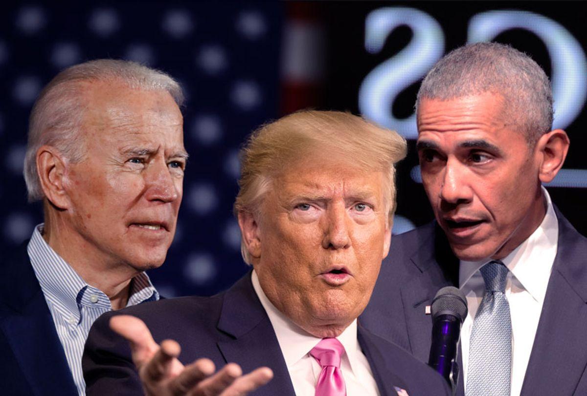 Joe Biden, Barack Obama and Donald Trump (AP Photo/Salon)
