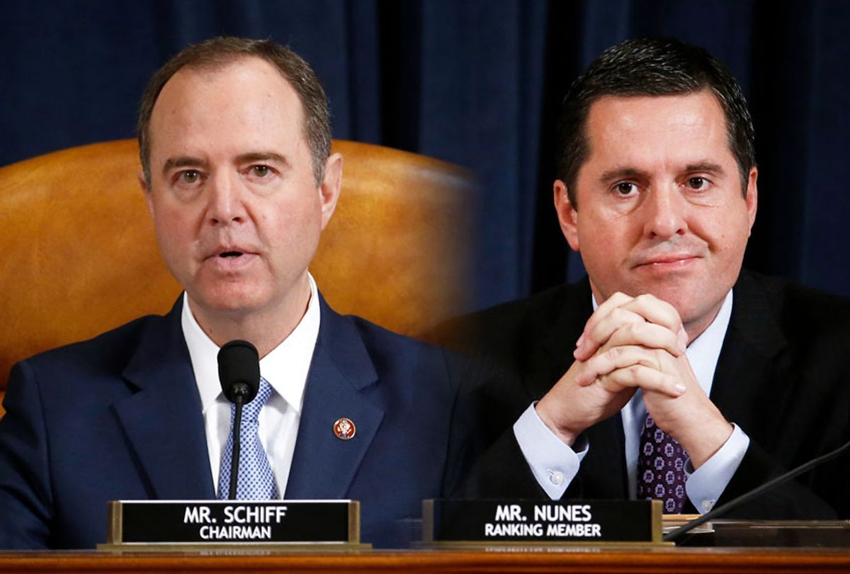 Representative Adam Schiff, a Democrat from California and chairman of the House Intelligence Committee, left, speaks as Representative Devin Nunes, a Republican from California and ranking member of the House Intelligence Committee, listens during an impeachment inquiry hearingon Capitol Hill November 21, 2019 in Washington, DC. The committee heard testimony during the fifth day of open hearings in the impeachment inquiry against U.S. President Donald Trump, whom House Democrats say held back U.S. military aid for Ukraine while demanding it investigate his political rivals. (Andrew Harrer-Pool/Getty Images)