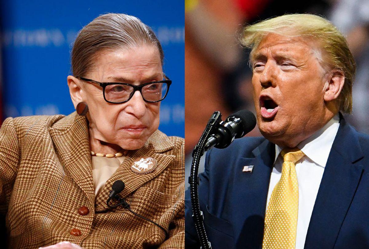 Ruth Bader Ginsberg and Donald Trump (AP Photo/Getty Images/Salon)