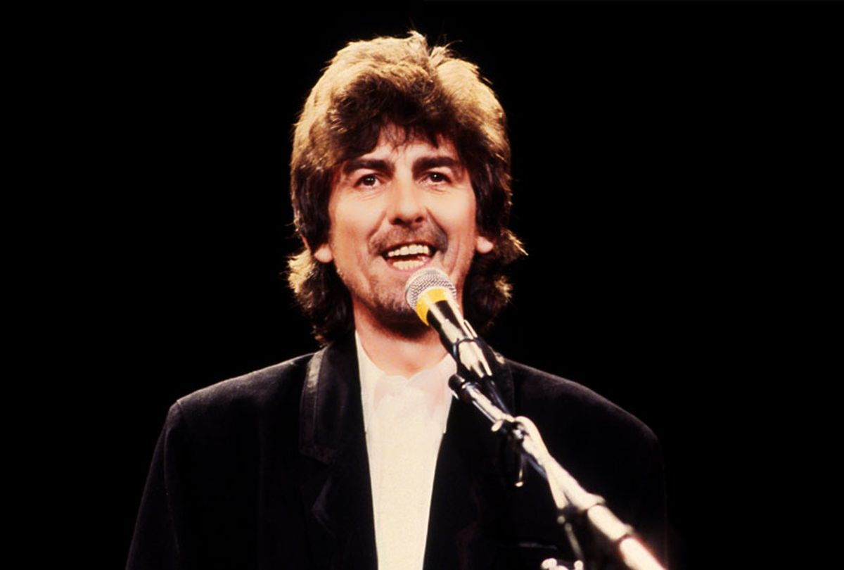 George Harrison at the 1988 Rock n Roll Hall of Fame Induction Ceremony circa 1988 in New York City.  (Sonia Moskowitz/IMAGES/Getty Images)