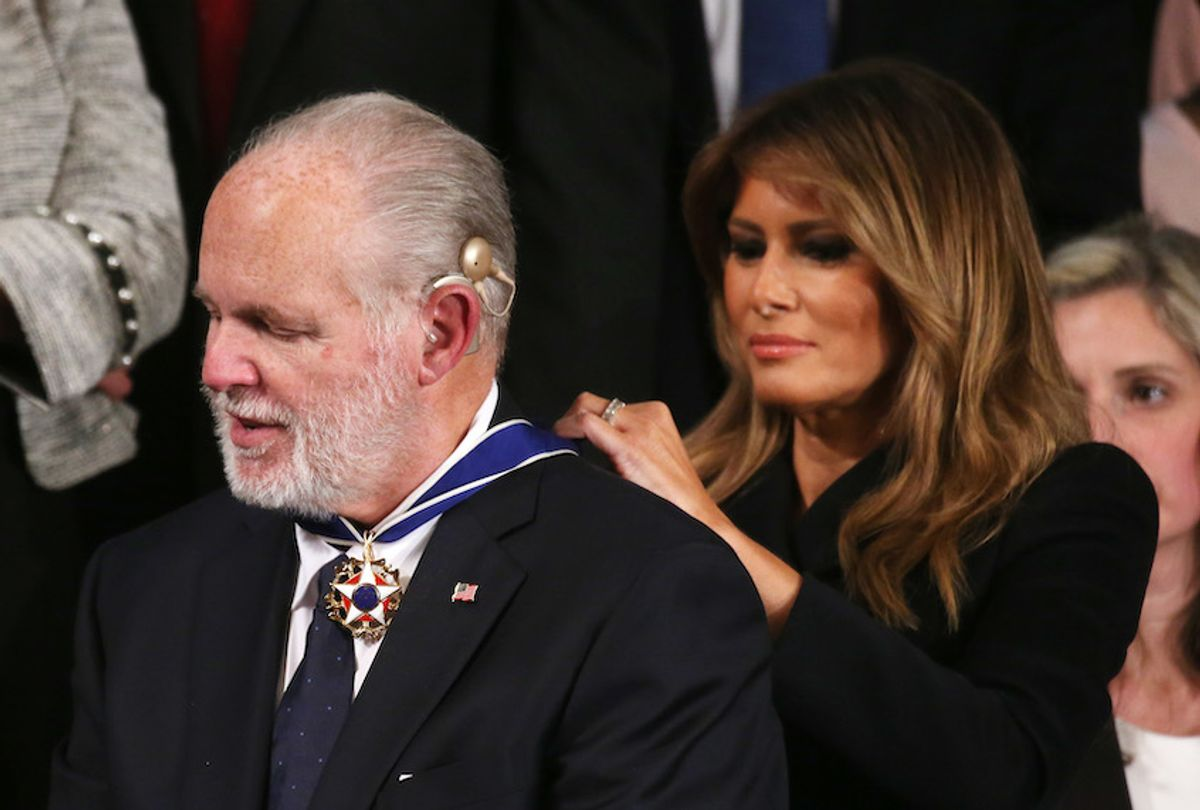 Radio personality Rush Limbaugh reacts as First Lady Melania Trump gives him the Presidential Medal of Freedom during the State of the Union address in the chamber of the U.S. House of Representatives on February 04, 2020 in Washington, DC. (Mario Tama/Getty Images)