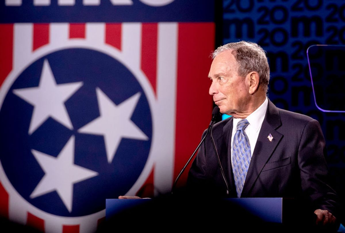 Democratic presidential candidate former New York City Mayor Mike Bloomberg reacts to a heckler during a campaign rally on February 12, 2020 in Nashville, Tennessee. Bloomberg is holding the rally to mark the beginning of early voting in Tennessee ahead of the Super Tuesday primary on March 3rd. (Brett Carlsen/Getty Images)
