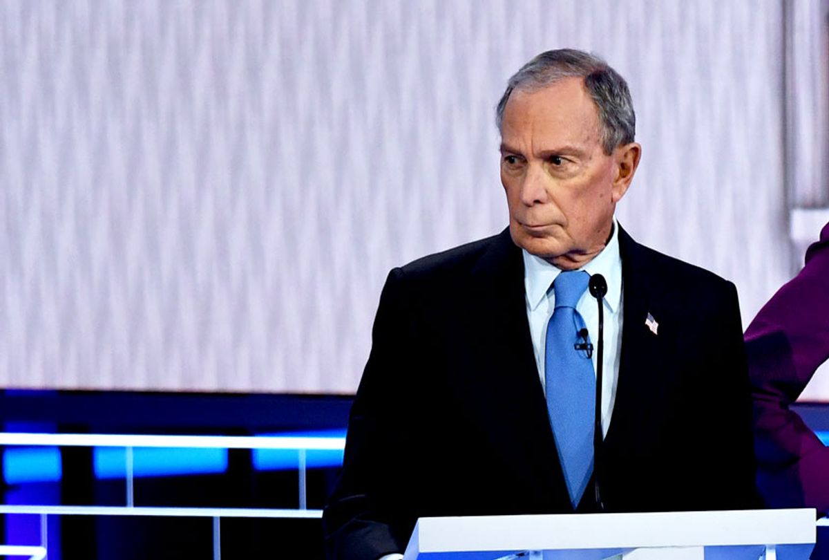 Democratic presidential hopeful former New York Mayor Mike Bloomberg looks on during the ninth Democratic primary debate of the 2020 presidential campaign season co-hosted by NBC News, MSNBC, Noticias Telemundo and The Nevada Independent at the Paris Theater in Las Vegas, Nevada, on February 19, 2020.  (MARK RALSTON/AFP via Getty Images)