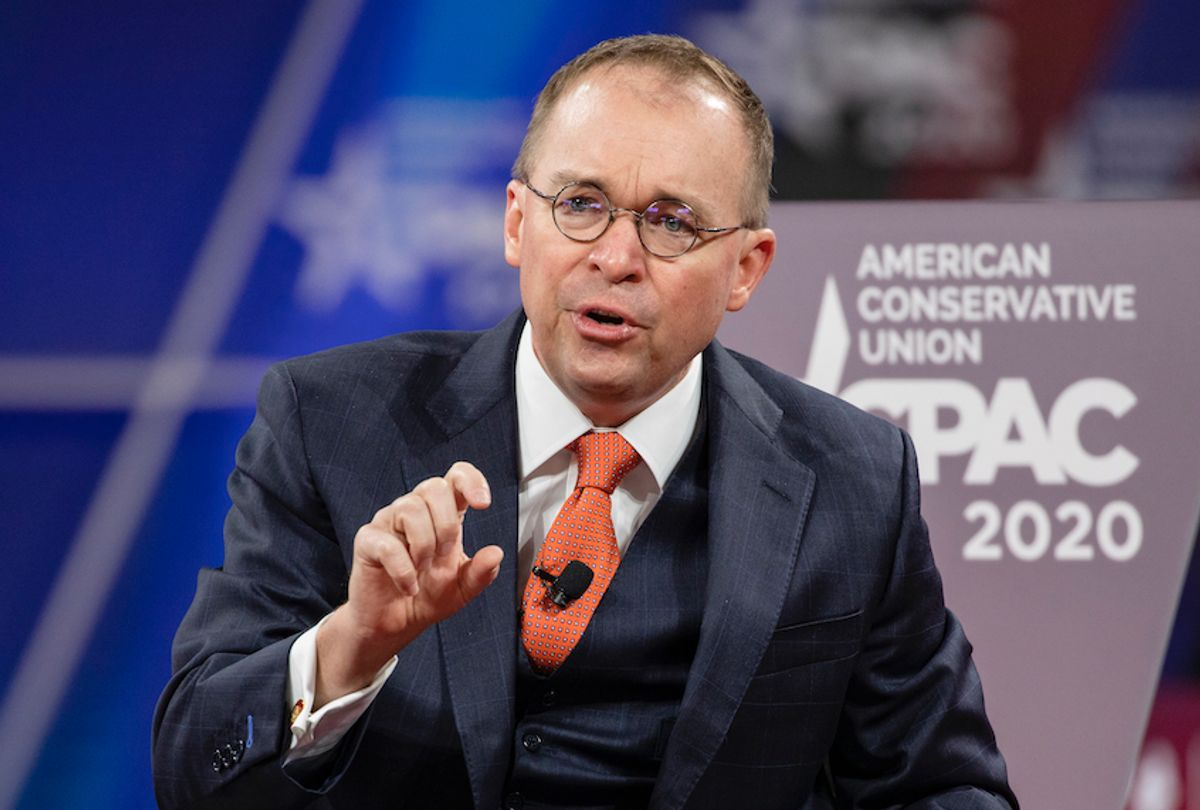 Mick Mulvaney on stage at the Conservative Political Action Conference 2020 on February 28, 2020 in National Harbor, MD.  (Samuel Corum/Getty Images)
