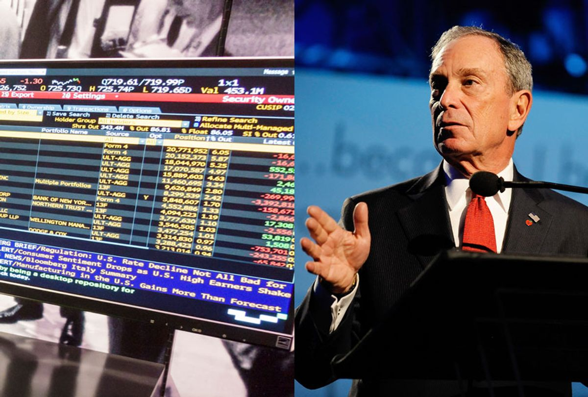 The Bloomberg terminal on display at the Museum of American Finance. / New York Mayor Michael Bloomberg speaks onstage at The 2009 Emery Awards and 30th Anniversary of the Hetrick-Martin Institute at Cipriani, Wall Street on November 10, 2009 in New York City.  (Getty Images/Salon)